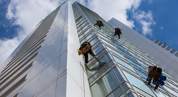 High-rise building window cleaners